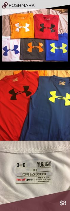 Five Sleeveless Under Armour Heat Gear shirts 5 Shirts- Orange w White, Orange w Black, White w Blue,  Gray w Orange and Blue w Yellow.  All with Heat Gear 30+UPF to protect from the sun's harmful ways.  Loose style.  All in Excellent Condition! Nike Other