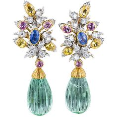 1STDIBS.COM Jewelry & Watches - Buccellati - BUCCELLATI Green Beryl Diamond Multi-Color Sapphire Earrings - Lang Antiques found on Polyvore