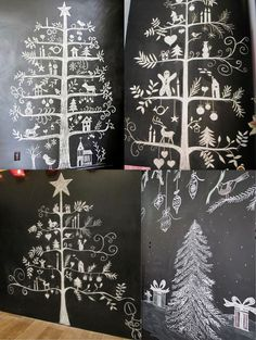 Sapins Noël dessinés à la craie...j'adore l'idée !                                                                                                                                                                                 Plus Scandinavian Christmas, Rustic Christmas, Santa Crafts, Christmas Crafts, Ideas Decoracion Navidad, Christmas Chalkboard Art, Christmas Window Display, Summer Christmas, Chalk Pens