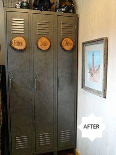 galvanized lockers using gunmetal paint and a round sponge dauber