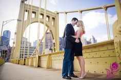 Pittsburgh Engagement Photo on Bridge - Engagement - Photograph