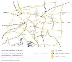 Sistema de vias expressas do Plano Diretor de Desenvolvimento Integrado de 1971: circulação em grelha para quebrar o sistema radial e centralizador existente na cidade