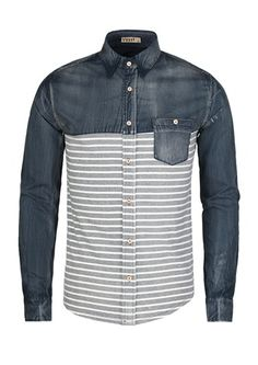 Men's Long Sleeve Striped Contrast Shirt   $24.99