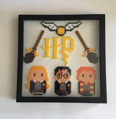 Harry Potter. Gryffindor. Hermione Granger. Ron Weasley. Wall art. Framed. Home decor. Perler beads/