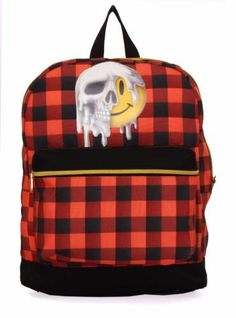 069101aca7 Teen Adult Backpacks - Mojo Smiley Melt Red Plaid Backpack