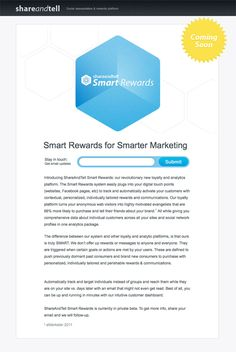 Smart Rewards for smarter marketing.  #LandingPage Example - #Unbounce