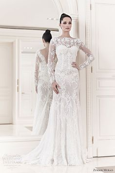 zuhair murad bridal 2014 diana long sleeve lace wedding dress
