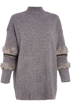 2a620bc2689 Buy Quiz Knitted Turtle Neck Faux Fur Sleeve Jumper from the Next UK online  shop