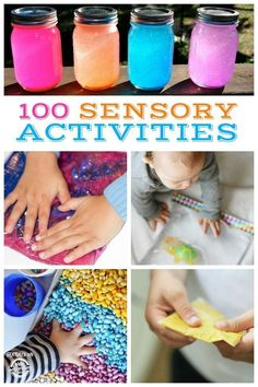100 Sensory activities for kids! From floam, bead boards, colored beans and DIY discovery bottles! So many good ideas! Tap the link to check out fidgets and sensory toys! Happy Hands Toys!