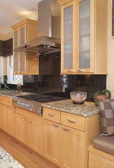 the contemporary kitchen everyone on facebook loves, doors, home improvement, kitchen backsplash, kitchen design, kitchen island, Modern Vent Hood Marble Backsplash Frosted Glass Cabinet Inserts
