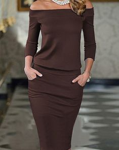 Elegant Slash Neck Pocket Bodycon Pencil Dress Shop- Women's Best Online Shopping - Offering Huge Discounts on Dresses, Lingerie , Jumpsuits , Swimwear, Tops and More. Elegant Dresses, Pretty Dresses, Dresses For Work, Classy Outfits, Trendy Outfits, Look Fashion, Womens Fashion, Fashion Tips, Ladies Fashion