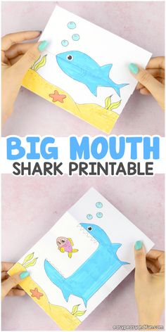 Surprise Big Mouth Shark Printable Easy Peasy And Fun - Celebrate Shark Week By Making This Surprise Big Mouth Shark Printable Paper Toy With Your Kids This Biting Surprise Craft Will Entertain Kids Both Big And Small Need More Shark Crafts And Activitie Fun Crafts To Do, Crafts For Kids, Craft Kids, Projects For Kids, Diy For Kids, Shark Craft, Printable Crafts, Printable Paper, Sunday School Crafts