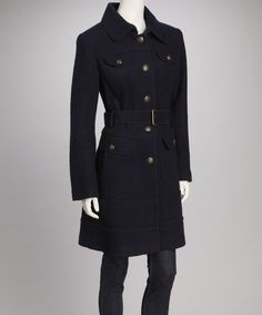 Take a look at this Vince Camuto Navy Buttoned Pocket Wool-Blend Trench Coat on zulily today!