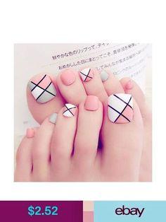 Nail Art Accessories Foot False Nail Tips Cute Fake Toes Nails With Glue Toe Art Tool Pedicure Designs, Pedicure Nail Art, Toe Nail Designs, Toe Nail Art, Feet Nail Design, New Nail Art Design, Pretty Toe Nails, Cute Toe Nails, Feet Nails