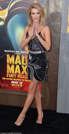 Sizzling:Rosie Huntington-Whiteley donned a flirty dress for the premiere, of which she c...