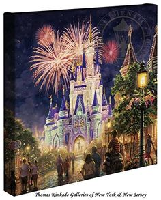 Thomas Kinkade Main Street U.S.A.,® Walt Disney World® 14x14 Canvas Wrap
