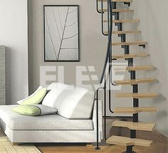 escalera medio caracol de un eje central liviana y minimalista espacios