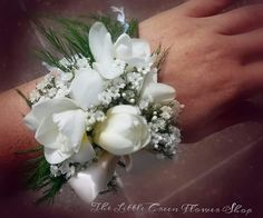 Wrist corsage, freesia & gyp ♡