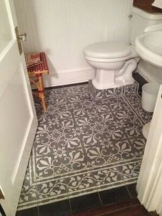 Cuban tile patterns in a classic color palette make a perfect powder room with lots of pizazz! Cuban Tile, Tiles, Flooring, Powder Room, Bathrooms Remodel, Patchwork Tiles Floor, Tile Bathroom, Cement Tile, Vintage Ceiling Tin