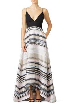 Badgley Mischka Neutral Stripe Gown