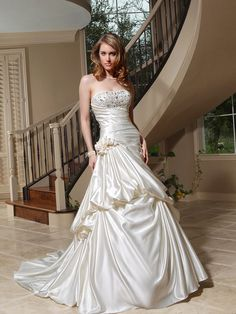 A-line Strapless Satin Chapel Train Ivory Beading Wedding Dresses at Millybridal.com