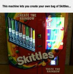 Create Your Own Skittles Bag machine Where is this machine because I need it in my life?!
