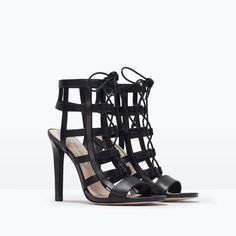 ZARA - COLLECTION SS15 - LEATHER HIGH HEELED WRAPAROUND SANDALS