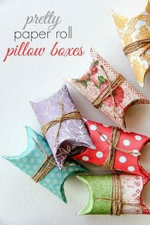 Paper Roll Pillow Boxes - info on how you can make these cute gift boxes using a paper roll, scrapbook paper and twine.