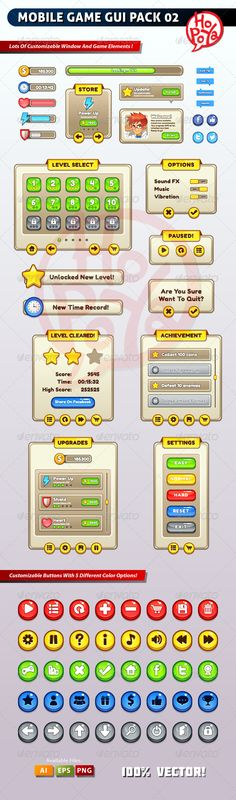 Mobile Game GUI Pack 02 by kemotaku on Envato