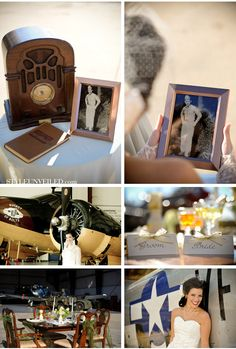 An air hangar is the perfect venue for your vintage wedding. Using vintage radios, cameras etc as decor helps set the mood. 1940s Wedding Theme, Wedding Blog, Wedding Photos, Dream Wedding, Wedding Ideas, Wedding Stuff, Geek Wedding, Wedding Planning, Rustic Wedding