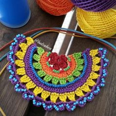 rope + crochet + bead + leather cord = knitting lover's knit necklace😊 nice to reme Crochet Mandala Pattern, Form Crochet, Cute Crochet, Crochet Stitches, Knit Crochet, Crochet Patterns, Crochet Bracelet, Crochet Earrings, Knitted Necklace