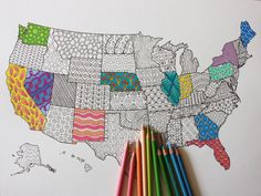 US Map Adult Coloring Poster -- Coloring Book Page to Frame // United States Map Wall Art Now that youve discovered the joy of adult coloring, put