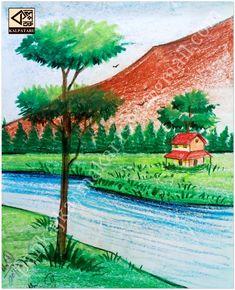 Easy scenery painting with oil pastel by Pankaj Karmakar