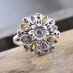 Multi Sapphire Sterling Silver Flower Ring