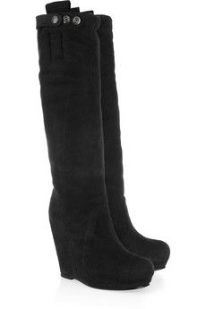 9e469aa03542 Rick Owens - Suede wedge knee boots