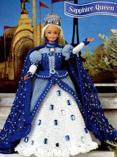 Sapphire Queen Barbie Doll Outfit Annie's Attic Crochet Pattern Leaflet RARE