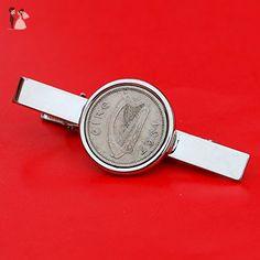 1967 Irish Ireland 3 Pence Harp Coin Silver Plated Tie Clip Bar Pin NEW - Groom fashion accessories (*Amazon Partner-Link)