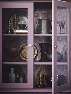 maybe not purple cabinets - but the wallpaper in the back is lovely. Purple Cabinet, design by Joel Bray. Deco Violet, Salons Violet, Plum Paint, Purple Cabinets, Paisley Wallpaper, Lavender Cottage, Lavender Decor, Purple Rooms, Color Lila