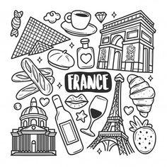 Doodle Art Drawing, Cool Art Drawings, Kawaii Doodles, Cute Doodles, Doodle Coloring, Colouring Pages, Doodles Bonitos, Coffee Doodle, Travel Doodles