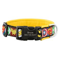 Is your dog your hero? Show your superhero pride with these stylish padded collars. Each collar comes with a superhero patterned ribbon sewn onto soft leather. The plastic military grade buckle is engraved with your dog's info! Blast off : )