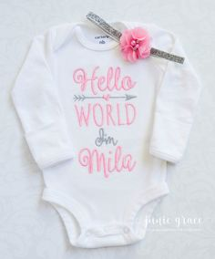 Personalized baby gift girl newborn girl coming home outfit newborn girl coming home outfit baby girl coming home outfit negle Images