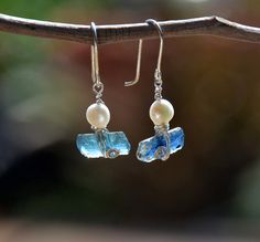Roman Glass Earrings Wrapped in Silver Wire with a White Cabochon Pearl. Blue\Aqua Two Tone Ancient Glass Earrings. Israeli Earrings. HKart1.  https://www.etsy.com/il-en/listing/221512651/roman-glass-earrings-wrapped-in-silver?ref=shop_home_active_1