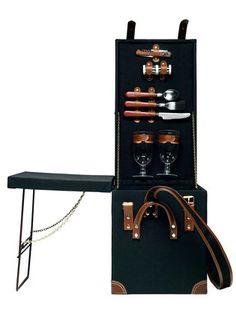 Picnic Trunk with TABLE! by Sagaform: Black canvas picnic trunk with foldable table and two place settings. On sale $112. #Picnic #Sagaform