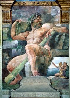 The Giant Polyphemus with Galatea and the Herdsman Acis by Giulio Romano, 1528. Fresco. Polyphemus, the prototype of a man tortured by ardent passion, an image of physical virility wedged into a rocky crag. He reclines, alone and lovelorn in his cave, the enormous club remains leaning between his legs. Galatea and her lover embrace by the seashore in the distance | Sala di Psiche, Palazzo del Tè, Mantua