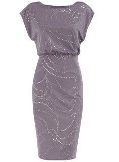 Lilac/silver glitter spot dress  Price: $59.00  Color: purple  Item code: 07590562  Glitter spot dress with deep V back and short batwing style sleeves. Wearing length 103cms. 95% Polyester,5% Elastane. Machine washable.