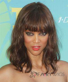 Ingenious Medium Wavy Brown African American Wigs for Women