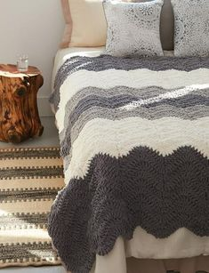 """Super easy and fun crocheted blanket in shades of grey. Approx 52"""" x 65"""" [132 x 165 cm]."""