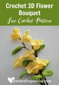 Lavora all'uncinetto il bouquet di fiori Best Picture For Crochet amigurumi For Your Taste You are looking for something, and it is going to. Crochet Bouquet, Crochet Puff Flower, Crochet Leaves, Crochet Motifs, Love Crochet, Crochet Gifts, Easy Crochet, Crochet Flowers, Crochet Patterns