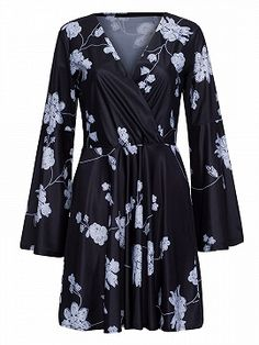 Shop Black Wrap V-neck Floral Print Belle Sleeve Dress from choies.com .Free shipping Worldwide.$20.9