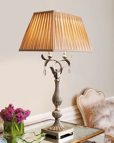 """Made of antique-finished metal and resin. Crystal ball finial and accents. Diamond-pleated shade. Uses two 60-watt bulbs. 19""""W x 14""""D x 37""""T. Imported."""